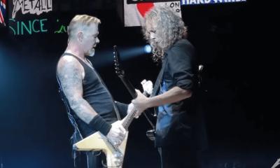 James Hetfield and Kirk Hammett in London