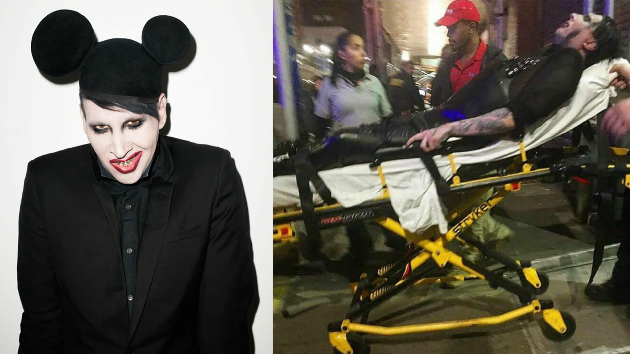 marilyn manson cancels nine concerts after new york stage injury. Black Bedroom Furniture Sets. Home Design Ideas