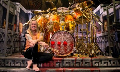 Watch Nicko McBrain playing The Trooper at a restaurant