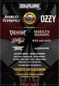 Ozzy Osbourne and Guns N' Roses will be the headliners of Download Festival 2018
