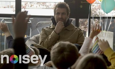 Liam Gallagher being interviewed by kids