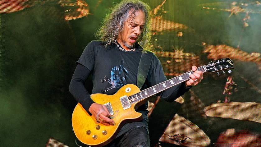 Kirk Hammett playing a Les Paul