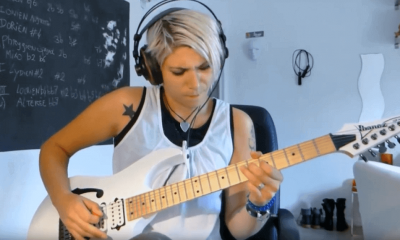 Talented female guitar player