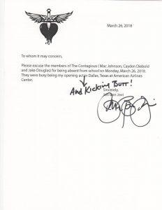 Bon Jovi letter to school