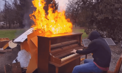 This guy played a piano on fire until it was completely destroyed