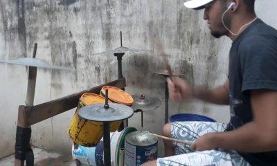 Improvised drum kit