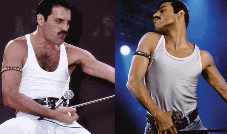 Rami Malek and Freddie Mercury live aid