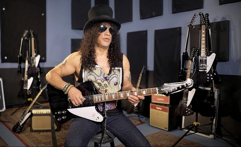 Slash presents new firebird guitar