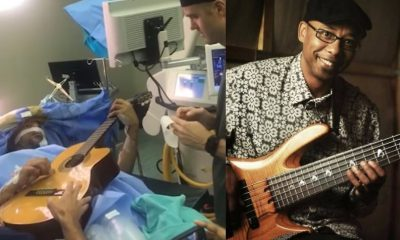 Musician plays guitar on brain surgery