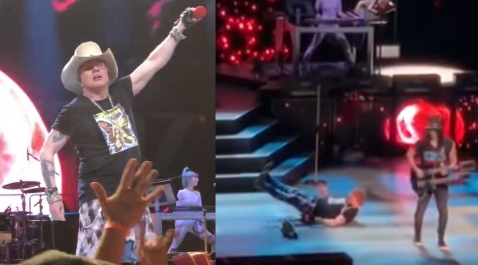 Axl Rose falling on stage