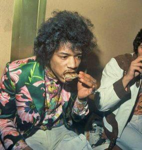 Jimi Hendrix eating