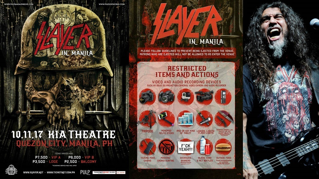 First Slayer show in the Philippines will not allow moshing and crowdsurfing