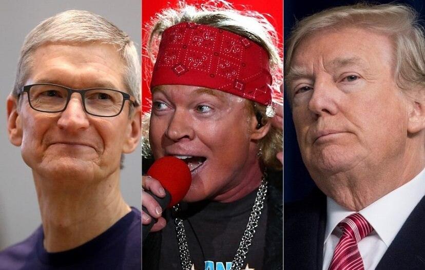 Tim Cook, Axl Rose and Donald Trump