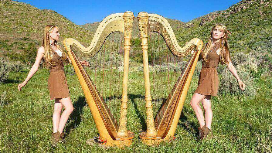 The Harp Twins performing Iron Maiden